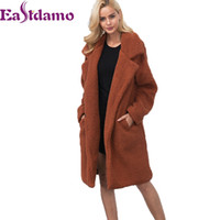 Eastdamo Winter Warm Shaggy Lamb Fur Woolen Coat 2017 Autumn...