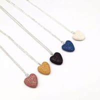 Moda Plateado Corazón Amor Lava Piedra Collar de cuentas Collar de Difusor de Aceite Esencial de Aromaterapia de Roca Volcánica