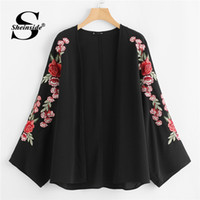 Sheinside Embroidered Sleeve Open Front Kimono 2018 Summer L...