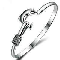 Vente chaude Bangle cadeau de Noël Silver Plate Charm Bracelet fin Noble Mesh Dolphin Bracelet Bijoux Fashion amitié Bracelets Accessoires