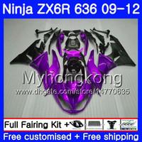 Púrpura brillo negro Cuerpo + tanque para Kawasaki ZX6R ZX636 2009 2010 2011 2012 208HM.39 ZX 636 ZX 6R ZX6R 600cc ZX636 09 10 11 12 carenados
