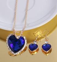 heiße neue Luxus herzförmigen kristall ohrring zirkon halskette set Europäischen und Amerikanischen hochzeit abendessen mode klassische exquisite elega