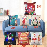 مضيئة عيد الميلاد غطاء وسادة الصمام الخفيفة رمي وسادة ليغطي أريكة المنزل سيارة عيد الميلاد الديكور الغزلان سانتا كلوز وسادة القضية