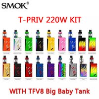 Kits SMOK T-Priv Starter 220W TC Box Mod avec TFV8 Big Baby Tank Personnalisation du kit TPriv LED Protections multiples 100% authentique