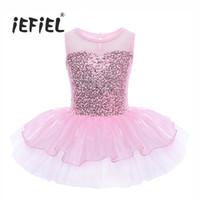 iEFiEL Girls Paillettes Sans Manches Ballet Danse Classique Justaucorps Dress Ballet Dancer Tutu Pour Enfants Enfants Ballerina