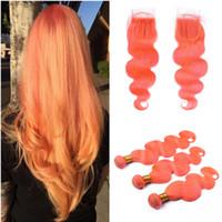 Körperwelle Haarverlängerung mit Spitze Schließung Orange Haar spinnt 3 Bundles mit 4x4 Spitze Top Closure Licht Orange reine Farbe mit Verschluss