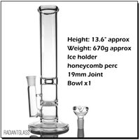 구체적으로 투명한 물 담뱃대 유리 물 봉 디자인 벌집 여분의 퍼콜 레이터 봉 아이스 포수 18mm 그릇