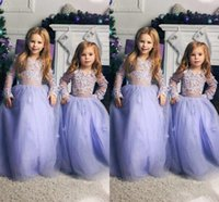 Принцесса Длинные рукава цветок девочки платья Jewel шеи с длинными рукавами лаванда Тюль Прекрасные Дети рождения Платья Дети Формальная одежда