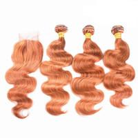 Vücut Dalga Turuncu Virgin İnsan Saç Atkı Dantel Kapatma Ile 3 Demetleri Kapatma Ile 4x4 Brezilyalı Turuncu Renk Saç Uzatma Kapatma