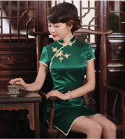 Бренд Love Peacock 100% Silk Shanghai Story Green Qipao Китайские женщины традиционные короткие Cheongsam Lady Улучшенный щель Silk Qipao платье Q2