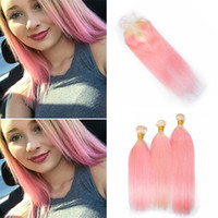 Blonde to Pink Hair Extensions Human Hair Bundles with Lace ...
