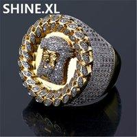 Nieuwe Design Mannen Ring Micro Verharde Zirkoon Goud Kleur Geplateerd Jezus Hoofdvinger Ringen voor Mannen Vrouwen Maat 8-12