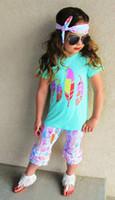 Kids Clothing Set Letters tshirts Pants Headbands Set Fashion Summer Girl Kids Tops Suits Boutique Clothes Outfits BY0122-12