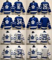 청소년 키즈 토론토 메이플 leafs 34 오스톤 매튜스 저지 91 John Tavares 29 William Nylander 16 Mitch Marner 31 Frederik Andersen White Blue
