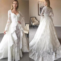 New Style 2019 Mermaid Wedding Dresses with Long Sleeves Coa...