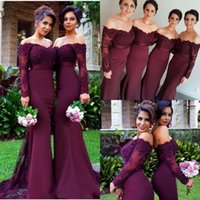 2018 Dark Maroon Off Shoulder Mermaid Bridesmaid Dresses Lac...