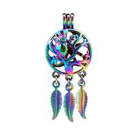 10 pçs / lote Rainbow Color Dream Catcher Coruja Árvore Dangle Folha Contas Medalhão Medalhão Pingente Difusor de Aromaterapia Perfume Óleos Essenciais Difusor