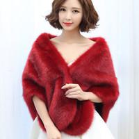 Alta calidad elegante bolero cálido Cabo de novia de invierno de piel de invierno chaqueta para mujer capa abrigo de boda QC1158