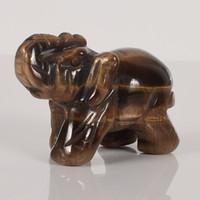 Natural 2 pollici Tiger eye Elephant pietra scolpita Artigianato Figurina Feng Shui guarigione Reiki Chakra Crystal custodia Flanella libera