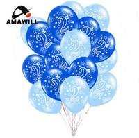 Amawill 10pcs 2 feliz cumpleaños impreso globos de látex para baby shower 2do cumpleaños decoraciones de fiesta 2 años de edad los niños favorecen 5D