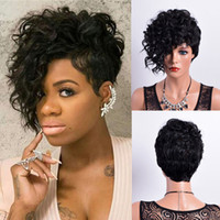 Synthetic Curly Hair short Wigs for Black Woman Short Kinky ...