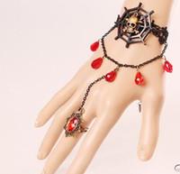 Caliente nueva Europa y América vintage pulsera de encaje negro cráneo tela de araña pulsera banda anillo accesorios de Halloween clásico elegante elegancia