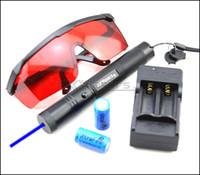 BS3 450nm قابل للتعديل التركيز الليزر الأزرق مؤشر القلم بطارية نظارات واقية شاحن