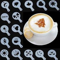 16pcs 스텐실 필터 커피 메이커 카푸치노 커피 바리 스타 몰드 템플리트 Strew Flowers Pad 스프레이 아트 커피 도구