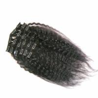 인간의 머리카락 확장에서 변태 스트레이트 클립 레미 헤어 8 개 및 120g / 세트 내추럴 컬러 거친 야키
