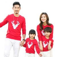 2018 Рождество Family Look Олень Mnommy и Me Одежда Соответствует Наборы одежды для всей семьи Мать Дочь Отец Детские Детские футболки оленей