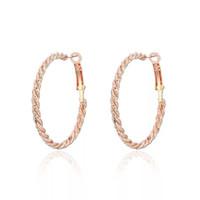 MGFam (467E) розовое золото покрытием круглый круг Хооп серьги для женщин веревка шаблон Роза / Белый высокое качество