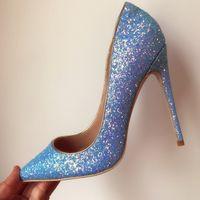 Freie Verschiffen Art und Weisefrauen blaues Glitter strass Punktzeh beschuht hohe Absätze dünne mit Absatz versehene Schuhe der Schuhe echtes Leder 10cm große Größengröße 33-43