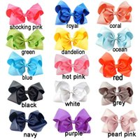 8 Inches New Girls Hair Bows Kids Handmade Bow Hairpin Clips...