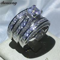 choucong frauen männer schmuck 3-in-1 hochzeit ring 14kt weißgelb gold gefüllt prinzessin schnitt diamant verlobungsring ringe