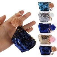 Girls Mini Sequin Key Chain Coin Purses With Cute Plush Ball...