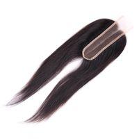 بيرو شعر الإنسان اختتام 2X6 الرباط إغلاق مستقيم بيرو الشعر الأوسط الجزء مع شعر الطفل الإغلاق 8-20inch