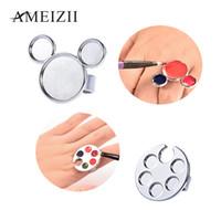 AMEIZII 1 Pc Mini Nail Art Metal Paleta de Dedo Anel Paleta Mixing Acrílico Gel Polonês Pintura Pintura Desenho Cor Manicure Ferramentas