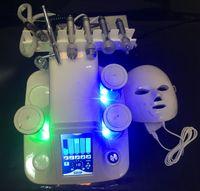 Portátil 7 en 1 Hydra Microdermabrasión Agua Hydra Dermabrasion Bio Ultrasonido RF Hammer Frío Oxígeno Spray 7 Colores PDT LED Máscara Facial
