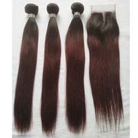 T 1B 99J Ombre Cheveux Colorés Faisceaux Avec Fermeture Vin Foncé Droite Cheveux Humains 3 Faisceaux avec Partie 4x4 Partie Dentelle Fermeture Extension