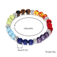 Neue Chakra Armbänder Naturstein Schwarz Lava Perlen Armband Frauen Männer Balance Yoga Schmuck Buddha Gebet