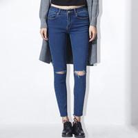 Хлопчатобумажные эластичные джинсы Femme Denim Capri Джинсы для женщин Весенняя женщина Синие джинсы уничтожены Feminino Карандаш Pantalon