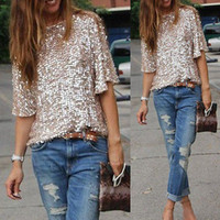 2016 Hot Womens Camicetta Paillettes Bling Shiny Tanks donne Top camicia casual allentata Off the Shoulder femme blause