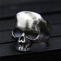 925 sterling silver ring vintage Thai silver skull ring men&...