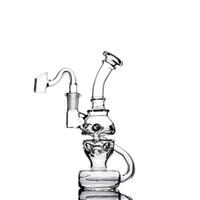 SEESH Lieferung Fab Eierglas Bong Schädel Glas Wasserleitung Doppelrecycler Duschkopf PERC Oil Rigs mit Schlitzen 14 mm Gelenkglas Banger oder Schüssel