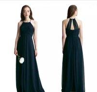 Bill Levkoff 2017 Navy Blue Chiffon длинные платья подружки невесты Холтер плиссированные горничные платья платья Pliats длина пола свадьба гостевая платье