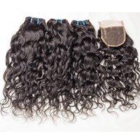 Горячие продажи Малайзии мокрые и волнистые волосы с закрытием 4 шт. Много девственной Малайзии воды волны кружева закрытия 4x4 с человеческими волосами ткать пучки