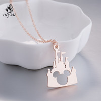 Oly2u Stainless Steel Necklaces & Pendant Castle Mouse Chain...
