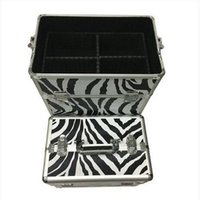 Frete grátis 3-em-1 Draw-bar Box Design Portátil Leopard Grain Maquiagem Caso Caixas De Armazenamento De Branco Caixas