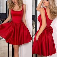 جديد أحمر طويل فساتين العودة للوطن الساتان القوس مع عميق مربع الرقبة حفلة موسيقية اللباس المناسبات الرسمية ارتداء BA9984