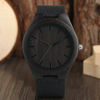 Men' s Natural Ebony Wood Watch Simple Minimalist Black ...